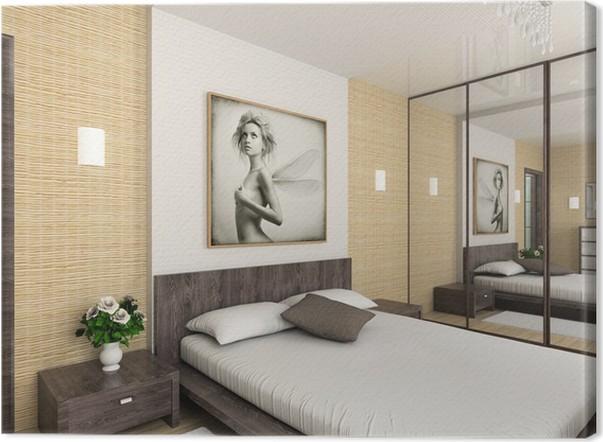 Canvas Modern interieur. 3D render. Slaapkamer. Exclusieve Design ...