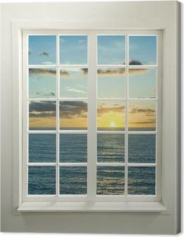 Canvas Moderne venster woonwijken met zonsondergang over zee en wolken