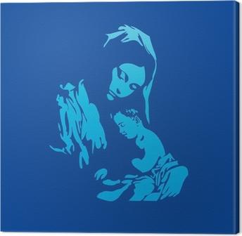 Canvas Moeder Maria met Jezus Christus in het blauw