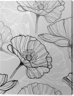 Canvas Monochrome naadloze patroon met klaprozen. Met de hand getekende bloemen achtergrond