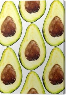 Canvas Mooie avocado herhaald patroon, bestond uit helften van een vrucht met pit. Vector illustratie.