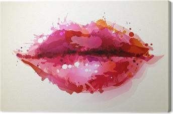 Canvas Mooie dames lippen gevormd door abstracte vlekken