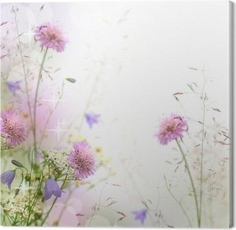 Canvas Mooie pastel bloemen grens - vage achtergrond