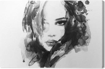 Canvas Mooie vrouw gezicht. aquarel illustratie