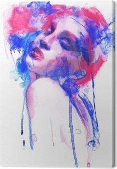 Canvas Mooie vrouw. Hand geschilderde mode-illustratie