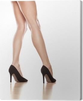 2bfd3405085c9d Canvas Zijaanzicht van de aantrekkelijke en mooie meisje in een zwarte  bikini • Pixers® - We leven om te veranderen