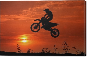 Canvas Motorcross in de zonsondergang