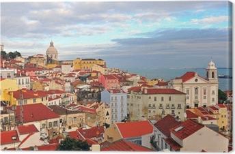 Canvas Multicolor huizen van Lissabon