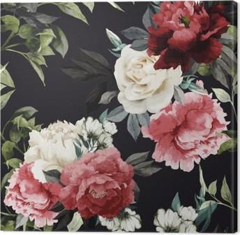 Canvas Naadloos bloemenpatroon met rozen, aquarel. vector illustrat