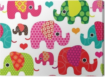 Canvas Naadloos olifant kids patroon achtergrond in vector