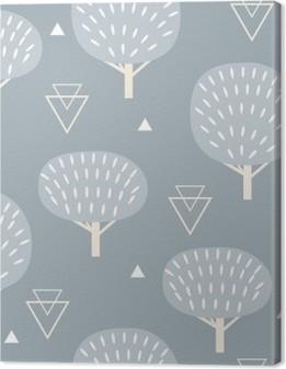 Canvas Naadloos patroon in moderne Scandinavische stijl. Vector geometrie achtergrond in het noorden van de natuur.