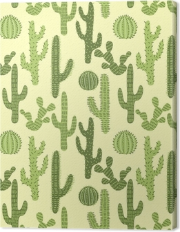 Canvas Naadloos patroon met cactussen # 1