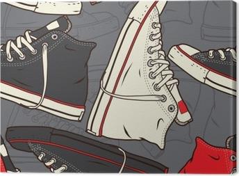 Canvas Naadloos patroon met sneakers Vector achtergrond.