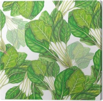 Canvas Naadloos patroon van de hand getekend spinazie
