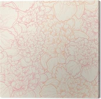 Canvas Naadloos patroon van pioenen