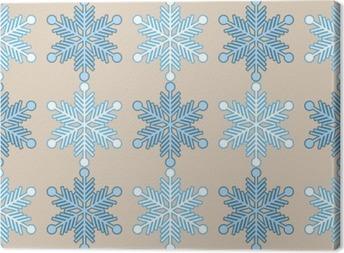 Canvas Naadloze achtergrond met sneeuwvlokken. Afdrukken. Herhalende achtergrond. Doek ontwerp, behang.