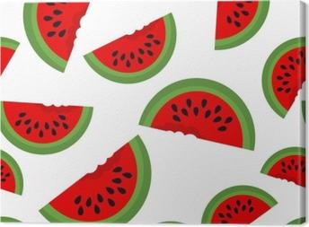 Canvas Naadloze achtergrond met watermeloen plakjes. vectorillustratie ontwerp voor de wenskaart en uitnodiging voor seizoensgebonden zomervakantie