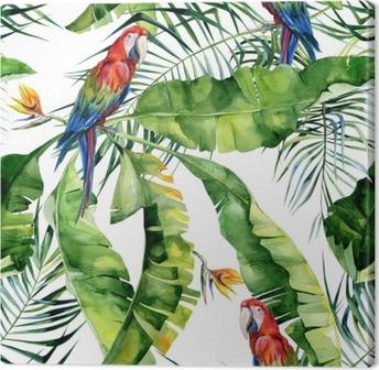 Canvas Naadloze aquarel illustratie van tropische bladeren, dichte jungle. Geelvleugelara papegaai. strelitzia reginae bloem. hand geschilderd. patroon met tropisch zomermotief. kokosnoot palmbladeren.