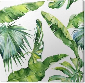 Canvas Naadloze aquarel illustratie van tropische bladeren, dichte jungle. Patroon met tropisch zomermotief kan gebruikt worden als achtergrondtextuur, verpakkingspapier, textiel, behangontwerp.