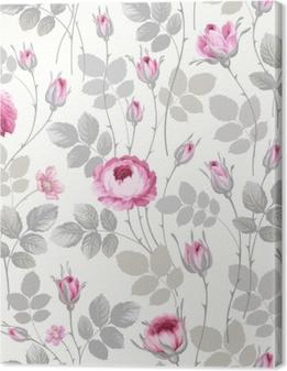 Canvas Naadloze bloemmotief met rozen in pastel kleuren