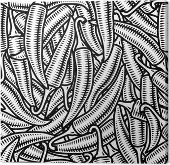 Canvas Naadloze chili peper achtergrond zwart-wit