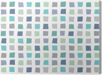 Canvas Naadloze hipster geometrisch patroon marineblauw aqua