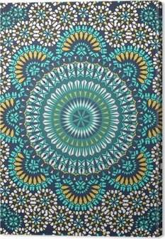 Canvas Naadloze Patroon in Mozaïek Etnische Stijl.