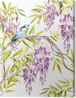 Canvas Naadloze patroon met blauweregen. hand tekenen aquarel illustratie