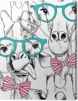 Canvas Naadloze patroon met giraffen in de glazen en met strik. vectorillustratie