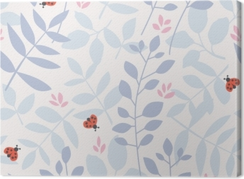 Canvas Naadloze patroon met verschillende bladeren en lieveheersbeestjes