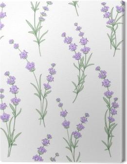 Canvas Naadloze patroon van lavendel bloemen op een witte achtergrond. waterverfpatroon met lavendel voor stoffenmonster. naadloos patroon voor stof. vectorillustratie