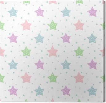 Canvas Naadloze sterpatroon voor kinderen vakantie. pastel kleuren baby shower vector achtergrond. schattig kind tekening stijl sterrenhemel illustratie.