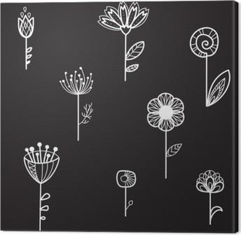 Canvas Naadloze textuur met decoratieve bloemen, zwarte achtergrond, vector illustratie
