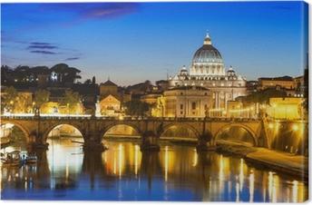 Canvas Nacht oog van de basiliek St. Peter en de rivier de Tiber in Rome in Italië