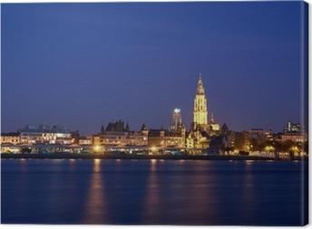 Canvas Nacht uitzicht over de stad Antwerpen