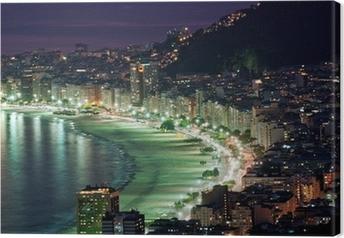 Canvas Nacht uitzicht van Copacabana strand. Rio de Janeiro