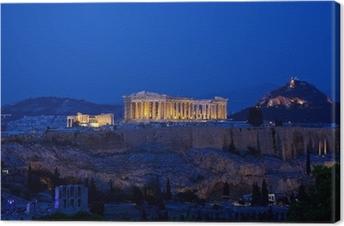 Canvas Nacht uitzicht van de Akropolis, Athene, Griekenland