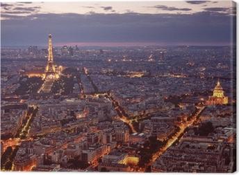 Canvas Nacht uitzicht van Parijs.