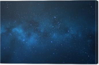Canvas Nachtelijke hemel - Heelal gevuld met sterren, nevel en melkweg