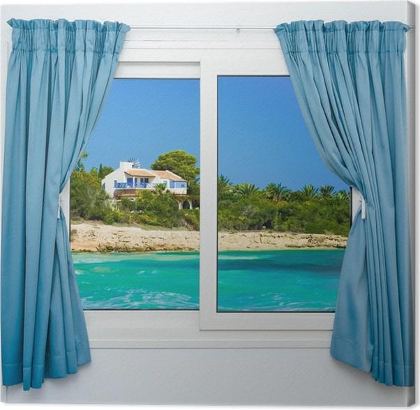 Canvas Natuur landschap met een uitzicht door een raam met gordijnen ...