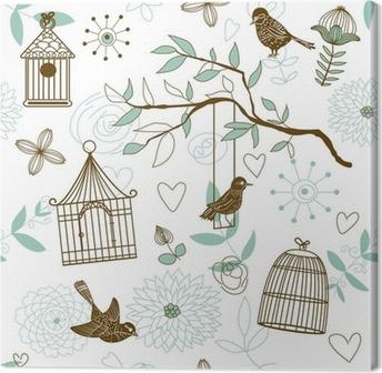 Canvas Natuur Patroon met vogels. Vector naadloze.