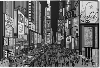 Canvas New York - avond uitzicht van Times Square