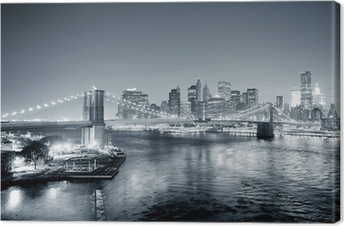 Canvas New York City Manhattan downtown zwart en wit