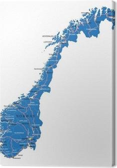 Canvas Noorwegen kaart
