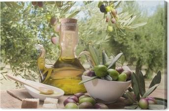 Canvas Olie en olijven