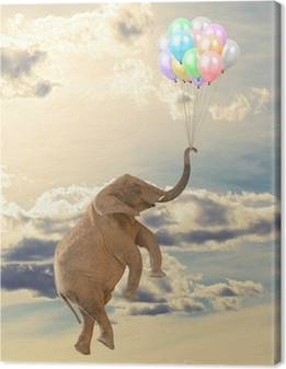 Canvas Olifant vliegen met ballon