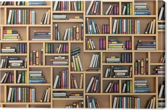Canvas Onderwijs concept. Boeken en handboeken over de boekenplank.