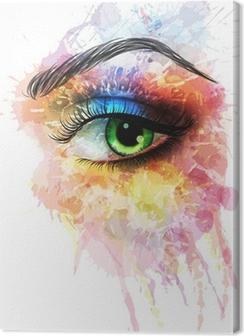 Canvas Oog gemaakt van kleurrijke spatten
