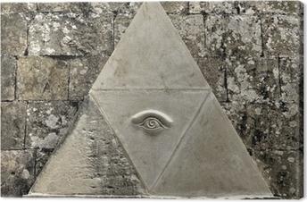 Canvas Oog van Voorzienigheid symbool geëtst in kalksteen