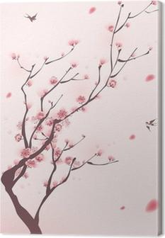 Canvas Oosterse stijl schilderen, kersenbloesem in het voorjaar